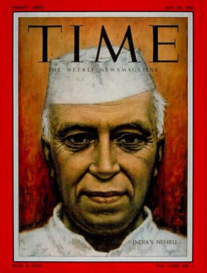 Time - Jawaharlal Nehru - July 30, 1956 - India