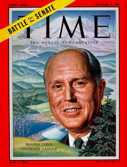 Time - Gov. Arthur Langlie - Sep. 3, 1956 - Governors - Politics