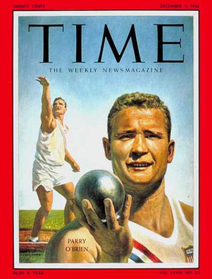 Time - Parry O'Brien - Dec. 3, 1956 - Track & Field - Sports