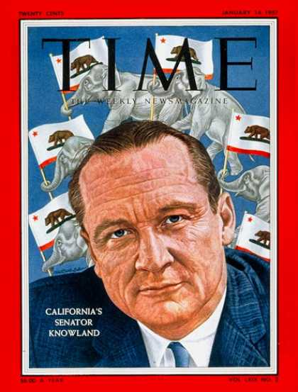 Time - Sen. William Knowland - Jan. 14, 1957 - Congress - Senators - California - Polit
