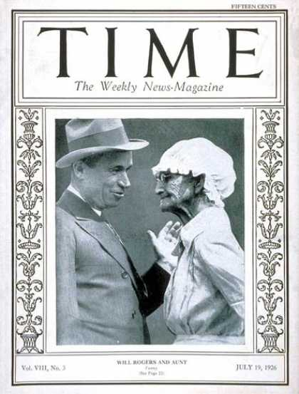 Time - Will Rogers - July 19, 1926 - Actors - Movies - Comedy - Cowboys