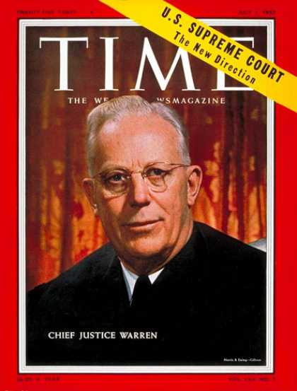 Time - Earl Warren - July 1, 1957 - Law