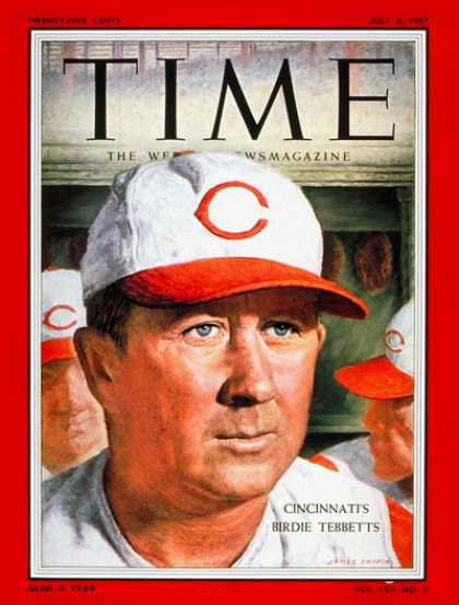 Time - Birdie Tebbetts - July 8, 1957 - Baseball - Cincinnati - Sports