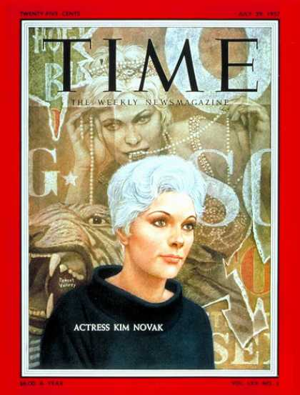 Time - Kim Novak - July 29, 1957 - Actresses - Movies