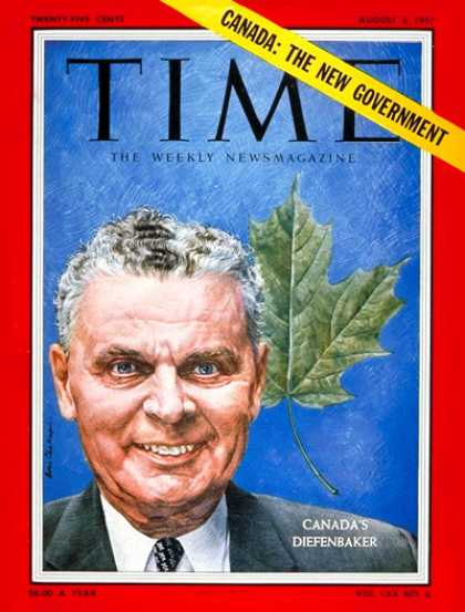 Time - John Diefenbaker - Aug. 5, 1957 - Canada