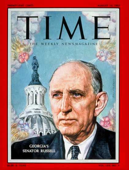 Time - Sen. Richard Russell - Aug. 12, 1957 - Congress - Senators - Politics