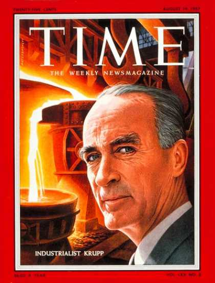 Time - Alfried Krupp - Aug. 19, 1957 - Business