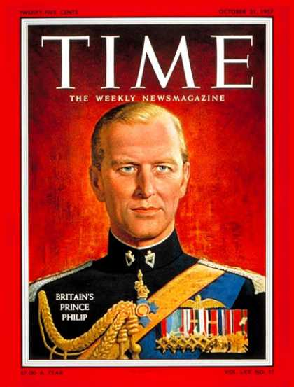 Time - Prince Philip - Oct. 21, 1957 - Royalty - Great Britain