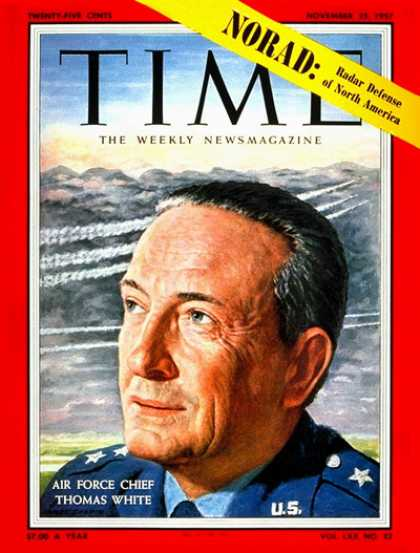 Time - General Thomas White - Nov. 25, 1957 - Air Force - Generals - Military