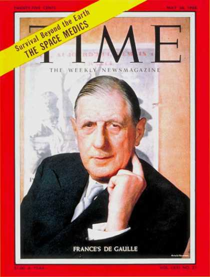 Time - Charles DeGaulle - May 26, 1958 - France - Paris