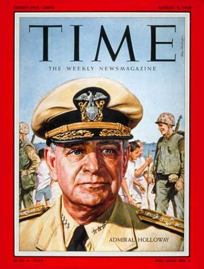 Time - Adm. James Holloway - Aug. 4, 1958 - Admirals - Navy - Military