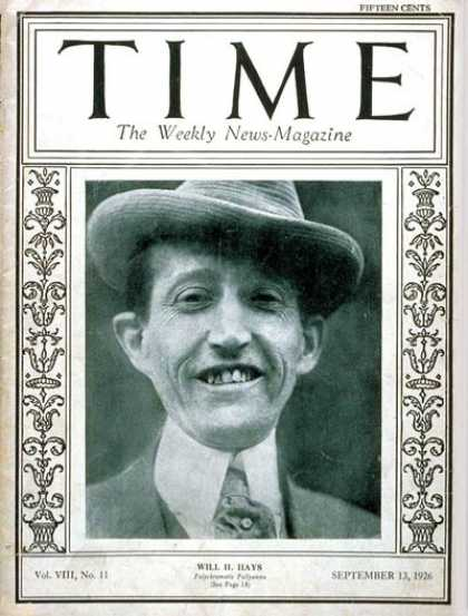Time - Will H. Hays - Sep. 13, 1926 - Publishing - Politics