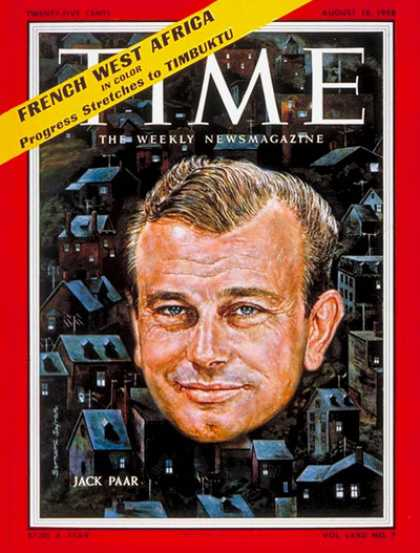 Time - Jack Paar - Aug. 18, 1958 - Television - Talk Shows - Radio - Broadcasting
