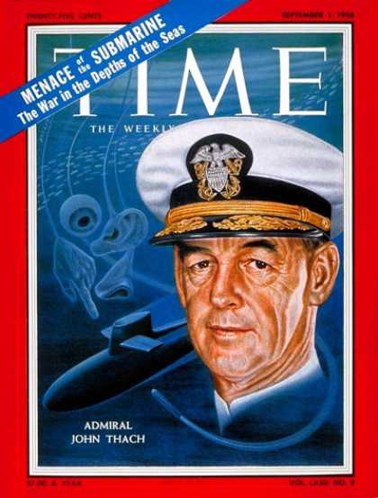 Time - Rear Adm. John Thach - Sep. 1, 1958 - Submarines - Military