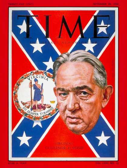 Time - J. Lindsey Almond Jr. - Sep. 22, 1958 - Governors - Virginia - Politics