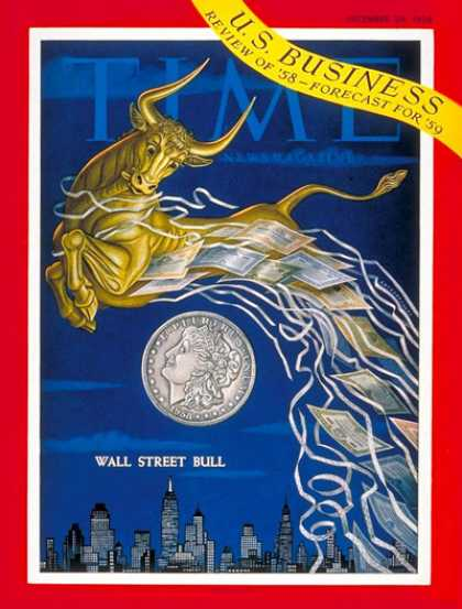 Time - Wall Street Bull - Dec. 29, 1958 - Economy - Wall Street - Securities - Business