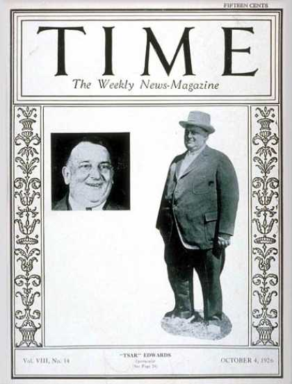 Time - William H. Edwards - Oct. 4, 1926 - Football - Sports