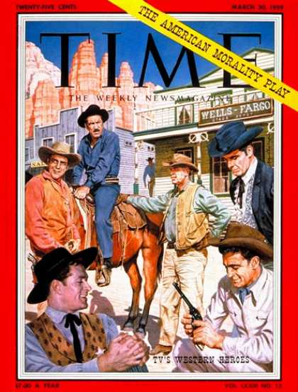 Time - TV's Western Heroes - Mar. 30, 1959 - Television - Cowboys - Actors