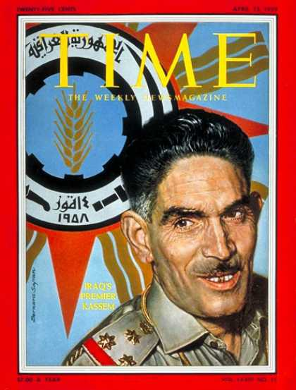 Time - Abdul Karim Kassem - Apr. 13, 1959 - Iraq - Military - Middle East