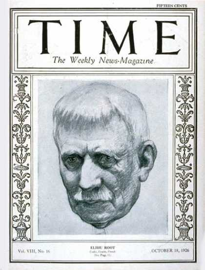 Time - Elihu Root - Oct. 18, 1926 - Business - Politics