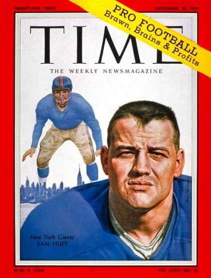Time - Sam Huff - Nov. 30, 1959 - Football - New York - Sports