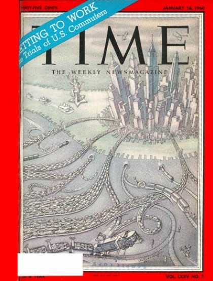 Time - U.S. Commuters - Jan. 18, 1960 - Cars - Cities - Transportation - New York - Com