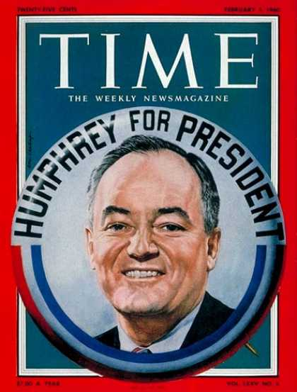 Time - Hubert H. Humphrey - Feb. 1, 1960 - Hubert Humphrey - Minnesota - Elections - Po