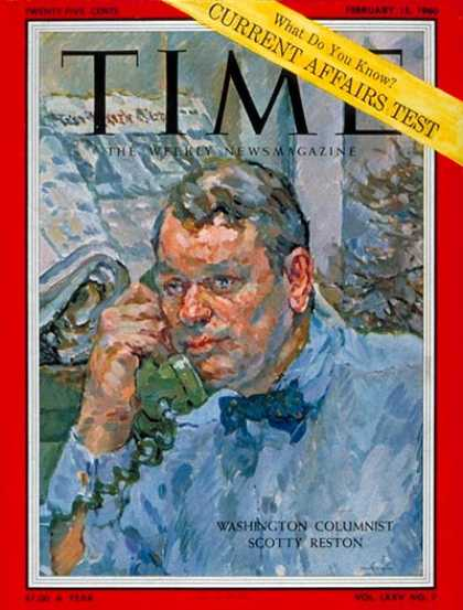 Time - James Reston - Feb. 15, 1960 - Journalism - Newspapers - Media
