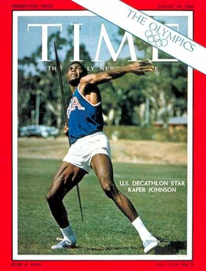 Time - Rafer Johnson - Aug. 29, 1960 - Olympics - Decathlon - Sports