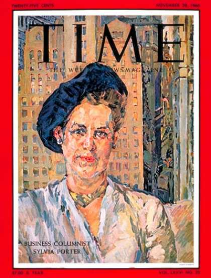 Time - Sylvia Porter - Nov. 28, 1960 - Women - Money - Journalism - Business