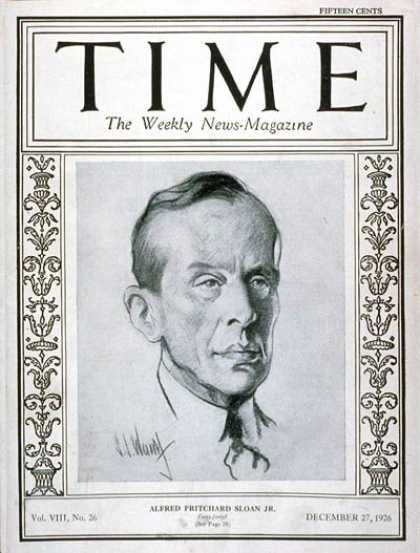 Time - Alfred P. Sloan Jr. - Dec. 27, 1926 - Alfred P. Sloan - Philanthropy - Business