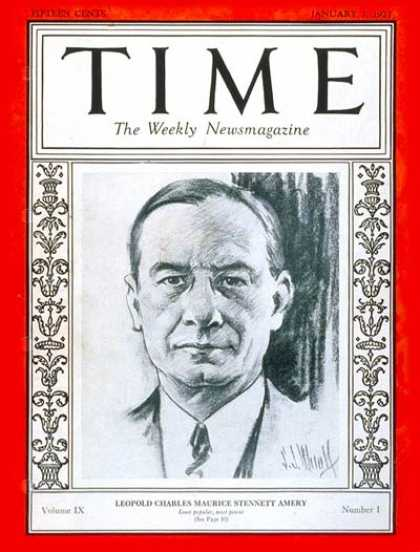 Time - Leopold C. Amery - Jan. 3, 1927 - Great Britain - Politics