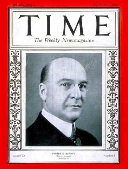 Time - Pierre S. DuPont - Jan. 31, 1927 - Finance - Business