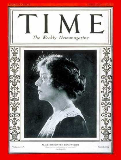 Time - Alice R. Longworth - Feb. 7, 1927 - Washington - Society
