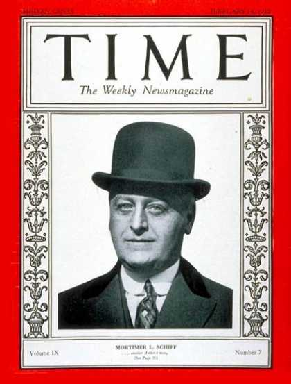 Time - Mortimer L. Schiff - Feb. 14, 1927 - Finance - Business