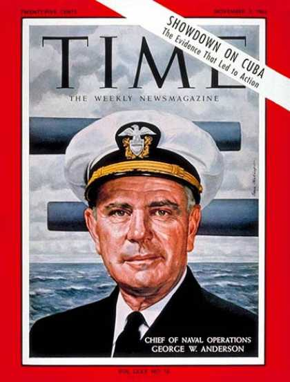 Time - Adm. George Anderson - Nov. 2, 1962 - Admirals - Navy - Cuba - Missiles - Milita