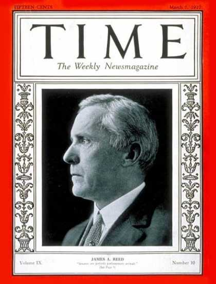 Time - Senator James A. Reed - Mar. 7, 1927 - Congress - Senators - Politics