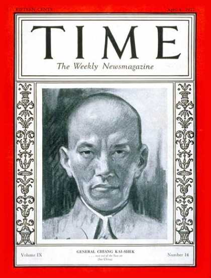 Time - Chiang Kai-shek - Apr. 4, 1927 - China