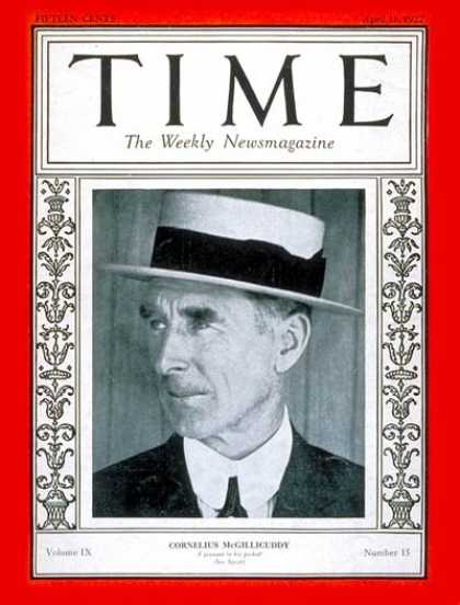 Time - Cornelius McGillicuddy - Apr. 11, 1927 - Baseball - Sports