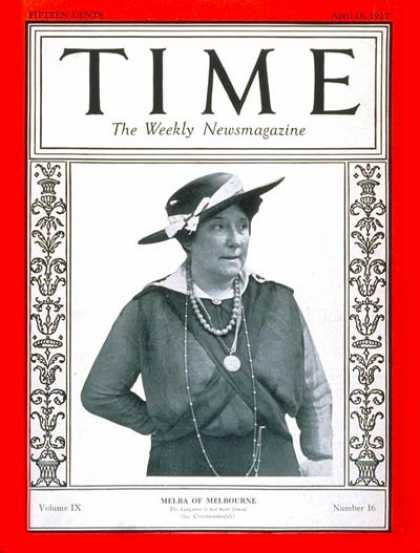 Time - Nellie Melba - Apr. 18, 1927 - Opera - Singers - Music