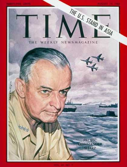 Time - Admiral Sharp Jr. - Aug. 14, 1964 - Admirals - Navy - Military