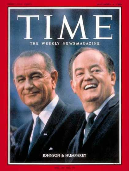 Time - Lyndon B. Johnson, Hubert H. Humphrey - Sep. 4, 1964 - Lyndon B. Johnson - Huber