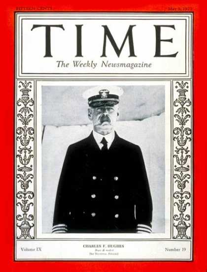 Time - Admiral Charles Hughes - May 9, 1927 - Admirals - Navy - Military