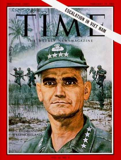 Time - General Westmoreland - Feb. 19, 1965 - Vietnam War - Generals - Army - Military
