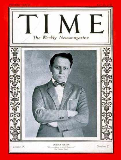 Time - Julius Klein - May 16, 1927 - League of Nations - Politics