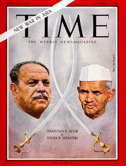 Time - Ayub Khan, Lal Bahadur Shastri - Sep. 17, 1965 - Pakistan - India