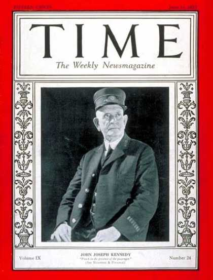 Time - John Joseph Kennedy - June 13, 1927 - Railroads