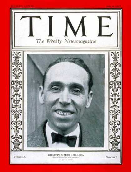 Time - Giuseppe Bellanca - July 4, 1927 - Aviation - Transportation