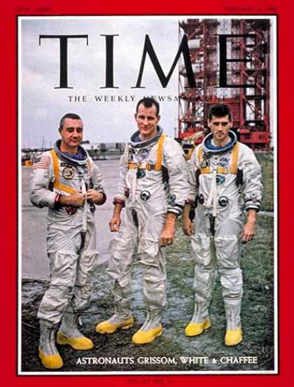 Time - Grissom, White, Chaffee - Feb. 3, 1967 - NASA - Astronauts - Space Exploration