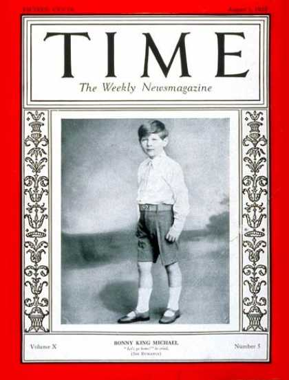Time - King Michael I - Aug. 1, 1927 - Royalty - Romania
